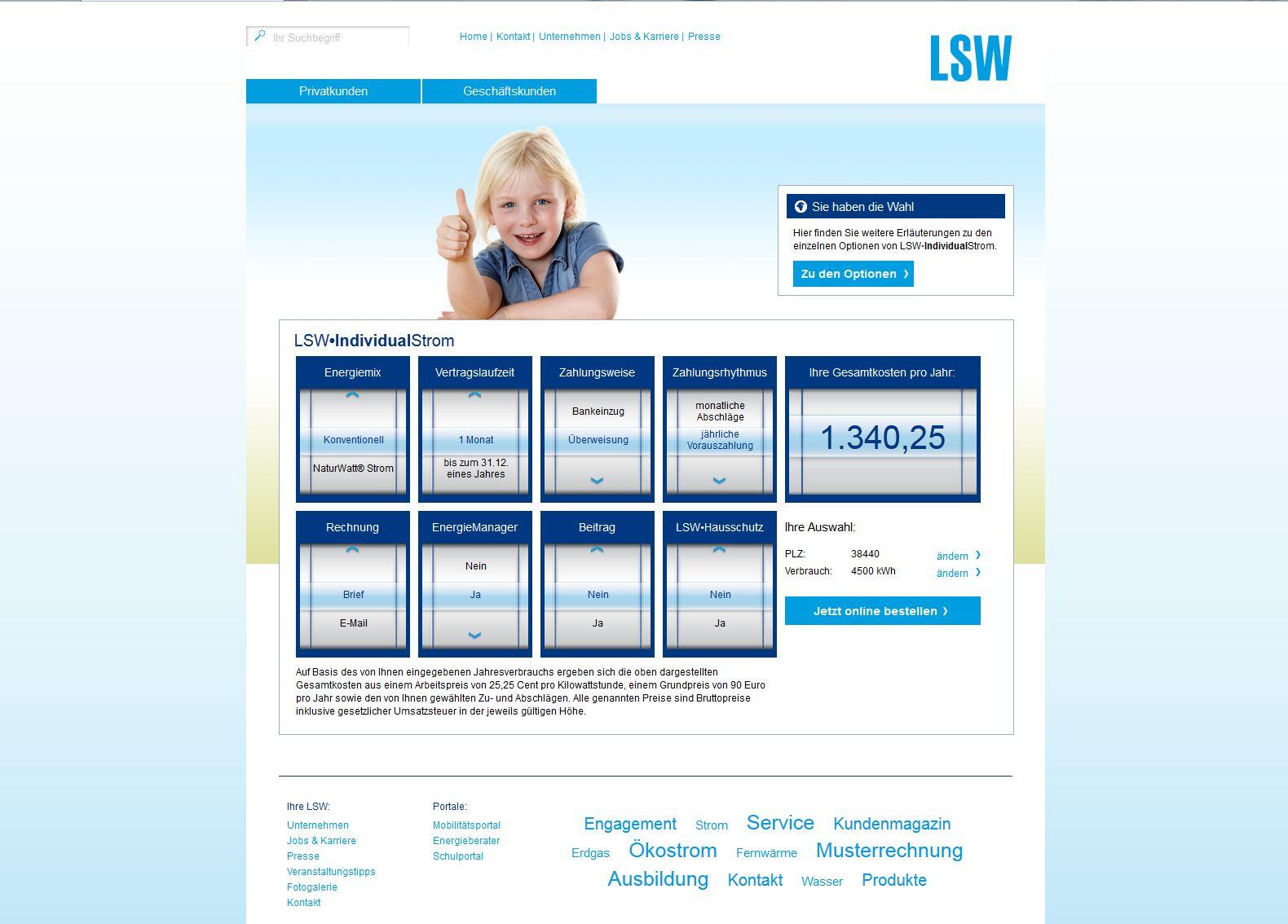 individueller preisrechner der lsw